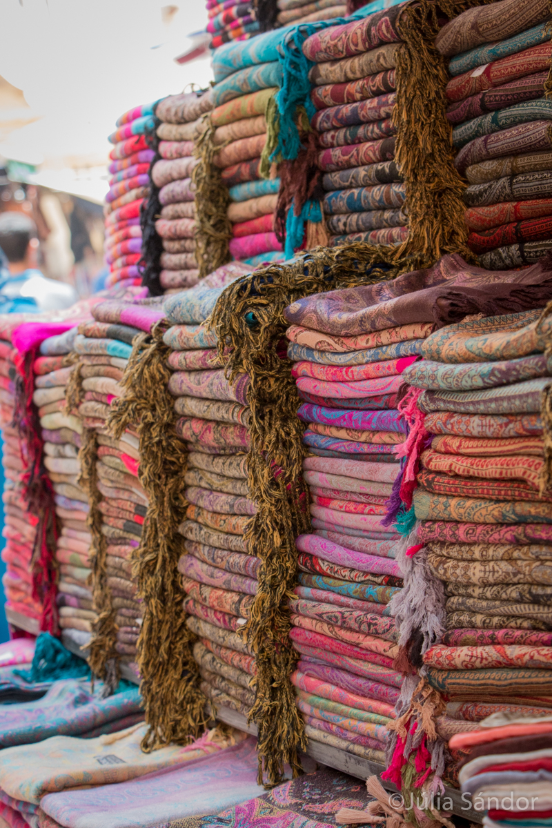Textiles on sale in the Medina in Fez
