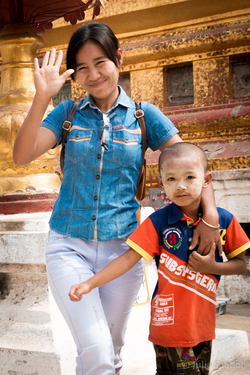 Burmese mother with her son