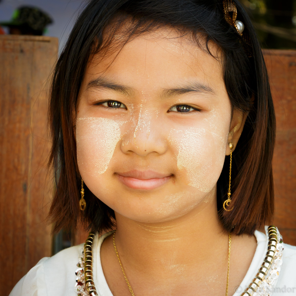 Faces of Asia: Burmese girl in Thanaka make up