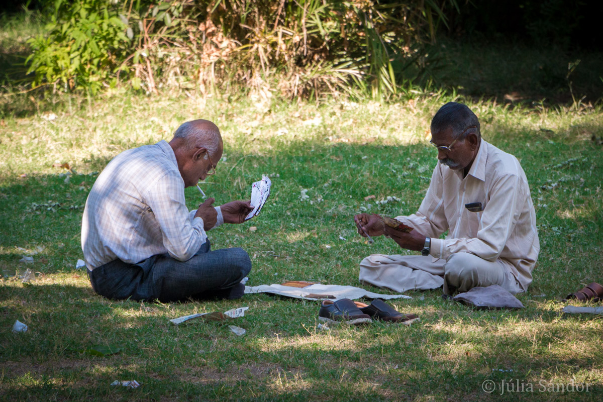 Men playing cards in Mandore garden
