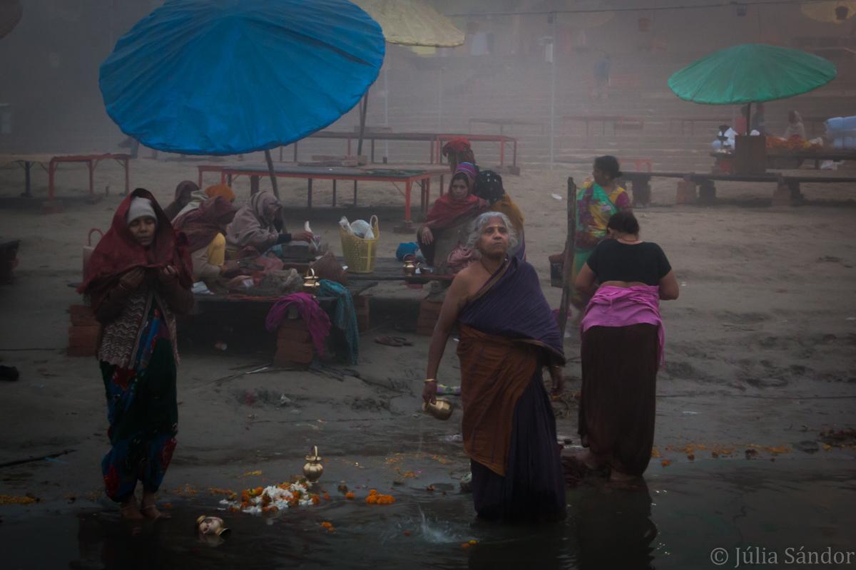 Hindu devotees bathing in the Ganges River