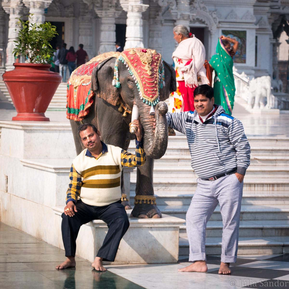 Posing in front of the Prem Mandir Krishna temple