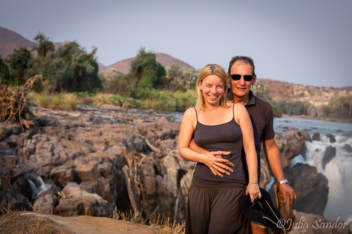Julia and Werner at the Epupa falls / Namibia
