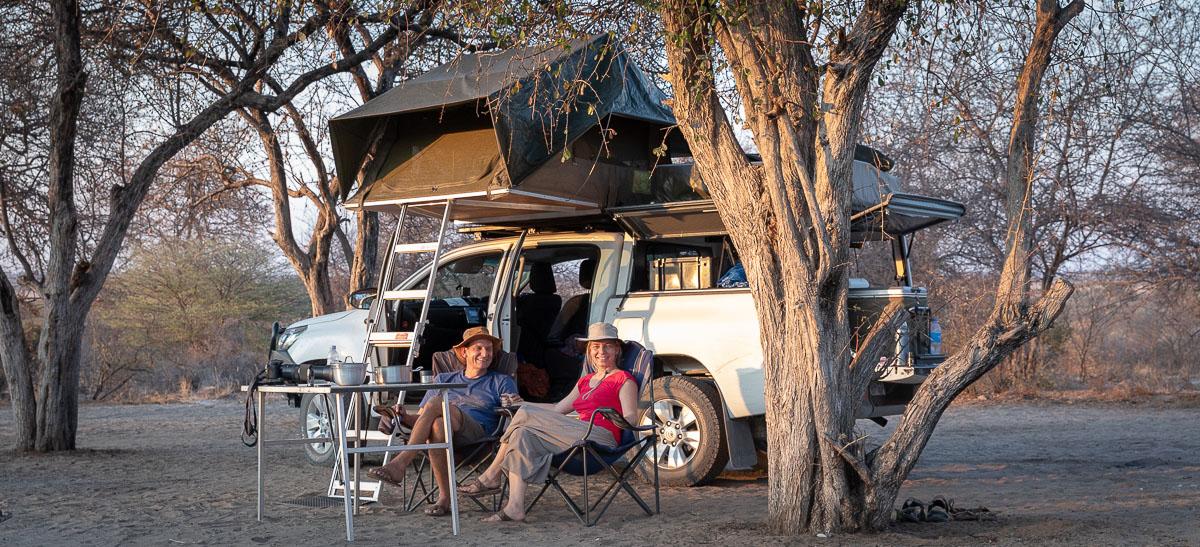 At the campsute in Central Kalahari in Botswana